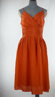 Edith & Ella Copenhagen Orange Elegant Cocktail Slip Dress Fit & Flare size S