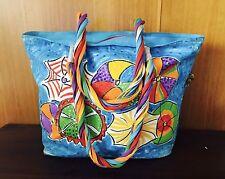 Sally Huss-Hand Painted Beach Bag