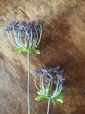 Stem of 2 Purple Artificial Cow Parsley Silk Flowers Realistic Faux Dill Anethum