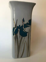 "Japanese Porcelain Vase Royal Iris Blue Violet Otagiri Japan 7.25"" Gold Trim"