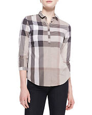 NEW BURBERRY BRIT POPLIN CHECK BUTTON-UP TOP PALE STONE BLOUSE SHIRT  Sz XS