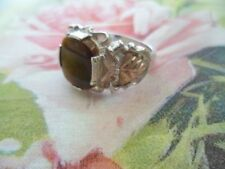 VINTAGE JEWELRY SOLID GOLD and  STERLING SILVER RING SIZE U or 10 TIGER EYE GEM