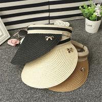 Women Wide Brim Visor Cap Lady Foldable Summer Beach Straw Hat Bowknot Sun Hat