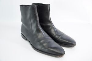 Hugo Boss Black Leather Chelsea Zip Ankle Sleek Boots Leather Sole 6.5 Italy