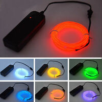 1 2 3 4 5M Battery Powered Glow LED Light El Wire String Strip Rope Party Decor