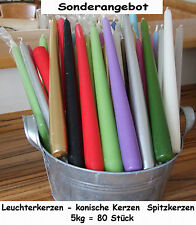 5kg= 80Stück Leuchterkerzen Spitzkerzen 250x25 Tafelkerzen farblich gemischt/RAL