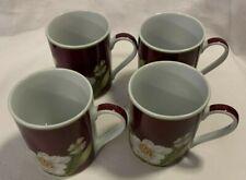 AMERICAN ATELIER china MAGNOLIA BLOSSOM Set Of 4 Cups EUC