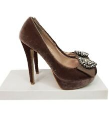 MISS SELFRIDGE Shoes Size 4 Mocha Velvet w/Diamantes Evening  Party Wedding