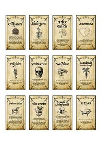 12 x Harry inspired potion labels