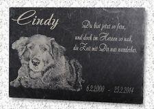 Hund Wunschfoto & Text Gravur Naturschiefer Grabstein Gedenktafel Gedenkplatte