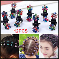 12X Kids Baby Girls Bow Hair Clip Children Crystal Hair Claws Clamps Accessories