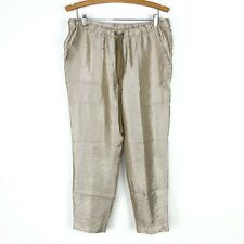 J Crew Womens 10 Gold Lame Stretch Waist Ankle Pants Holiday Cocktail Party