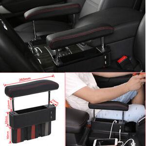 Universal Driver Seat Pocket Storage Armrest Box Organizer Holder USB PU Leather