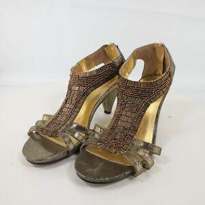 """Nine West Womens Gold Leather Beaded Back Zip 3"""" Kitten Heels Size US 8 M"""