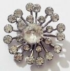 broche bijou vintage fleur couleur or blanc cristaux diamant à facette * 4676