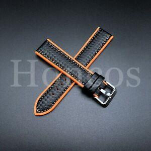 20 MM Orange Rubber Strap Band Replacement Black Carbon Fiber 2021 Vintage Sport