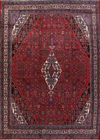 Vintage Geometric Hamedan Area Rug Traditional Oriental Hand-Knotted Wool 11x13