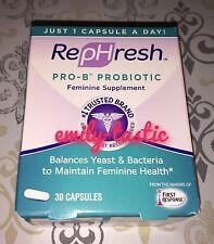 RepHresh Pro-B Probiotic Feminine Supplement 30 Capsules Expires JANUARY 2020