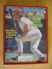 Pete Rose Signed 1985 Sports Illustrated Magazine Framed Autograph Reds HOF