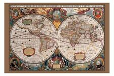 17th Century Old World Map Brand New With Gold Ink