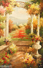 """Oil Painting On Stretched Canvas 24"""" X 36""""- Seaside Garden"""