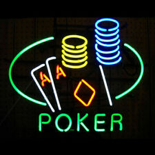 """New Poker Double Aces Cards Bar Cub Party Light Lamp Decor Neon Sign 17""""x14"""""""