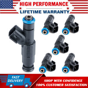 6X Upgrade Fuel Injectors 4-Hole For Jeep Grand Cherokee Wrangler 4.0L 1999-2004