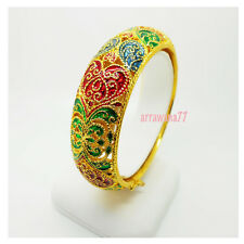 Carve Lai Thai Enamel 22K 24K Thai Baht Yellow Gold GP JEWELRY  Bangle Bracelet