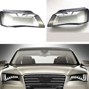 2x for AUDI A8 D4 2011 2012 2013 Front Headlight Glass Headlamp Clear Lens Cover