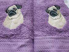 CUSTOM EMBROIDERED REALISTIC PUG DOG HAND TOWEL SET