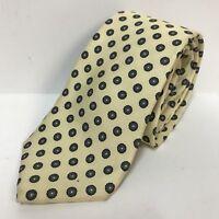 Bert Pulitzer Necktie Regent Yellow Background Blue Petals Gray White Flower Tie