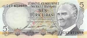 Turkey  5  Lira  ND.1968  Series  C  Circulated Banknote WKsat