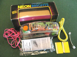 Vintage Clear See Through Phone Conair 80'S/90'S RETRO Neon Brights TELEPHONE NR