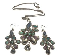 Peacock Drop Dangle Pierced Earrings and Pendant Chain Necklace Set