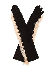 LANVIN PARIS Suede Fringe Gloves 6.5 NWT