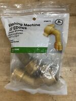 "BRASS 45° Degrees WASHING MACHINE ELBOWS ¾"" MGHT X FGHT (2 pack) RV Hose 3/4"
