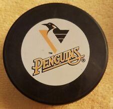 PITTSBURGH PENGUINS  OFFICIAL NHL HOCKEY PUCK VINTAGE INGLASCO  BIG ORANGE LABEL