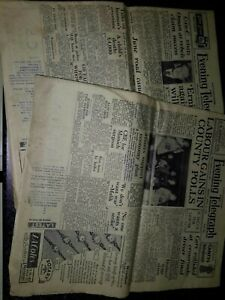 2 OLD VINTAGE ORIG NEWSPAPERS  1950s Northamptonshire evening telegraph