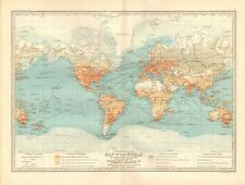 1890 ANTIQUE MAP - COMMERCIAL MAP OF THE WORLD