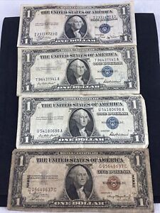 1935 A $1 Dollar HAWAII WWII Brown Seal Circulated & 3 Silver Certificate Blue