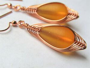 Yellow SEA GLASS Teardrop COPPER Weave Wire Dangle Earrings, Artisan Made