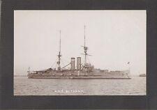 REAL-PHOTO POSTCARD: HMS BRITANNIA - BRITISH ROYAL NAVY WW-1 BATTLESHIP - Unused