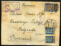 ESTONIA to SERBIA front cover registered 1931