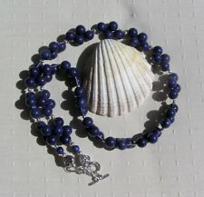 "Blue Lapis Lazuli Gemstone Chunky Beaded Necklace ""Bluebell Cascade"""