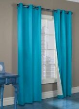 2 AQUA PANEL BLACKOUT THERMAL GROMMET FOAM LINED WINDOW CURTAIN SMOOTH K92 84