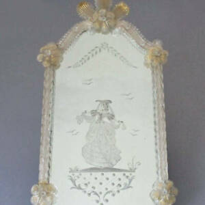 """Antique 20"""" VENETIAN Glass Wall MIRROR Etched Victorian LADY w Candle Holder"""