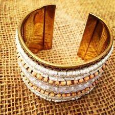 Brass Cuff / Bangle with Tiny White & Wood Beads Adjustable Handmade in India.