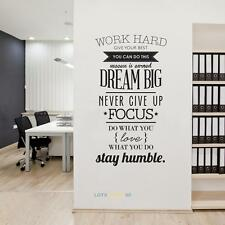 Wall Decals Quotes Work Hard Vinyl Wall Sticker Decorative Office Home Decal NEW
