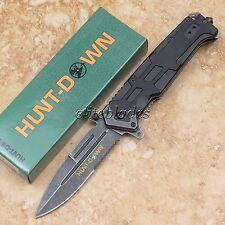 """8 3/4"""" Spring Assisted HUNT-DOWN Tactical Pocket Folding Knife Glass Breaker 563"""