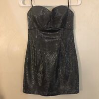 Guess Los Angeles Strapless Silver Sparkle Dress MSRP $108